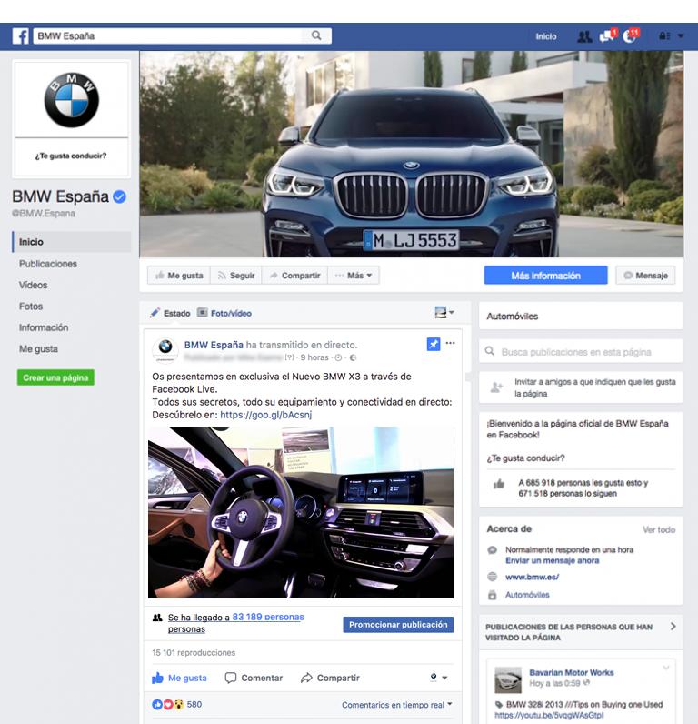 Facebook Live presentación nuevo BMW X3