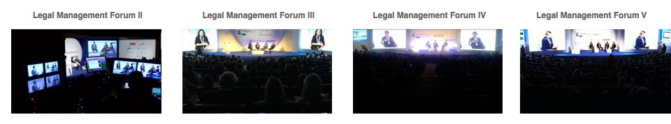 Ediciones I, II, III, IV y V Legal Management Forum realizadas en directo simultáneamente en dos idiomas.